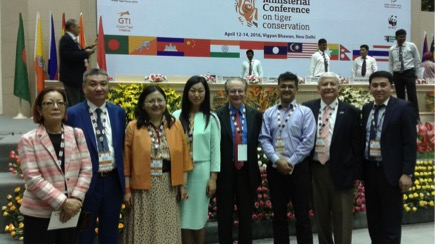 the GSLEP secretariat team and the Kyrgyz delegation raised awareness for snow leopards among tiger range countries.